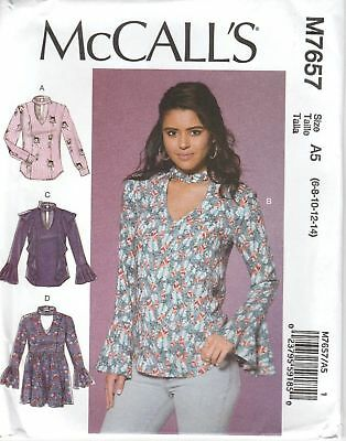 McCall's Sewing Pattern 7657 Misses Sz 6-14 Pullover Tops Tunic  Ruffle Options