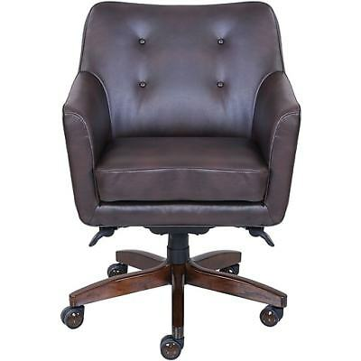 Sensational La Z Boy Kelsey Leather Desk Office Chair Fixed Arms Brown Ocoug Best Dining Table And Chair Ideas Images Ocougorg