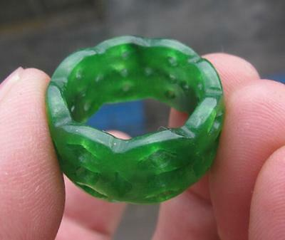new green jade. hand carved band ring sz8 collectable jade