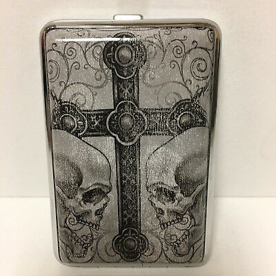 Two Side Skulls With Center Cross Metal Cigarette Case King Size