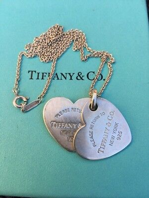 "Rare Tiffany & Co Sterling Silver Return to Tiffany Double Heart Necklace ""18"