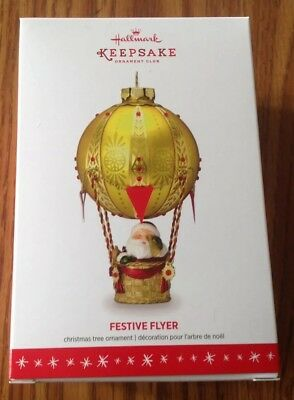2016 Hallmark Santa FESTIVE FLYER KOC Exclusive Ornament Hot Air Balloon MINT
