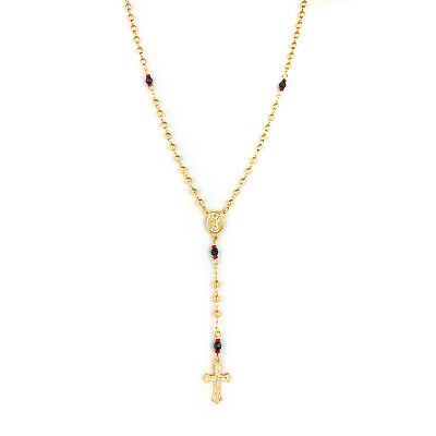 GOLD FILLED ROSARY NECKLACE Red-Black Azabache Beads Divine Child Rosario Oro