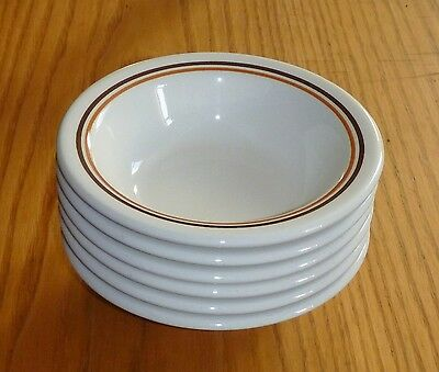 6 Vintage Buffalo China Soup Cereal or Chili Bowls Brown Orange Stripes