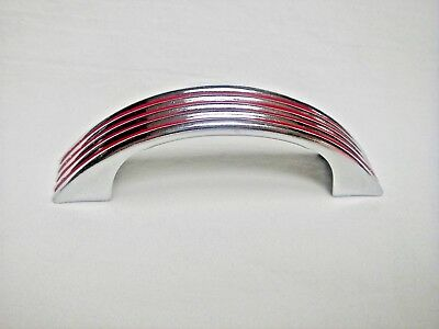 NOS Vintage Chrome and Red Drawer Pull Cabinet Handle Ribbed Face