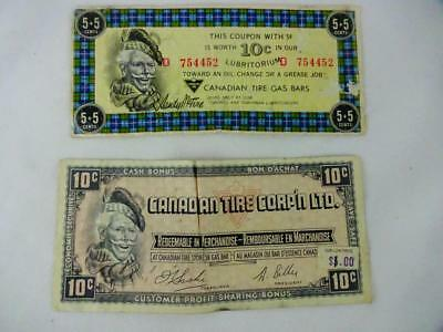 Vintage Canadian Tire 5+5 cent Lubritorium Coupon & 10 cent Cash Bonus coupon