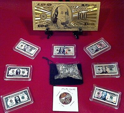 "<MINT SET>""GOLD BILL""$100 Rep*+ SET$1-$100 Banknote Bars+ MINI COINS & SHRED sl"