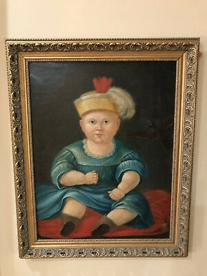Antique Unique 19th Century Original Oil Portrait Painting of a Boy with Bird
