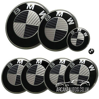 FOR BMW Carbon Fibre Black & Silver Badge Decals Wrap Sticker ALL MODELS Overlay