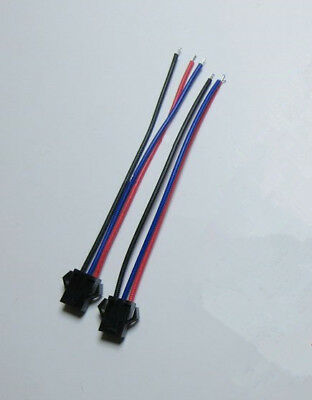 JST 2.54 SM 3Pin 3P Connector plug Male / Female with 10cm Wires Cables Lot
