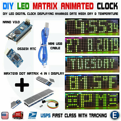 ARDUINO DIGITAL WIFI LED Dot Matrix Clock ESP8266 MAX7219 with