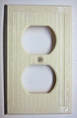 Vintage Dashed Thin Lines Cream Beige Art Deco Bakelite Outlet Wall Plate Cover
