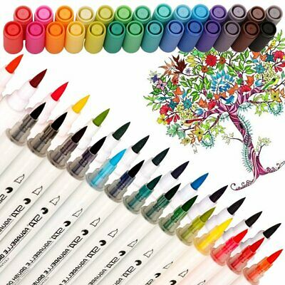 28 Colour Set Brush Watercolor Pen Craft Marker Artist Sketch Soft Head Marker