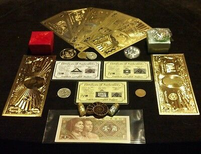 aHUGE22Pc.LOT~COINS/FOSSIL/7GOLD.BANKNOTES/U.S&WORLD/3SILVER BARS/CHARM