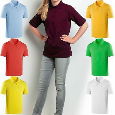 Kids Polo T-Shirts Fruit Of The Loom Boys Girls Collared Pe School Uniform Tops