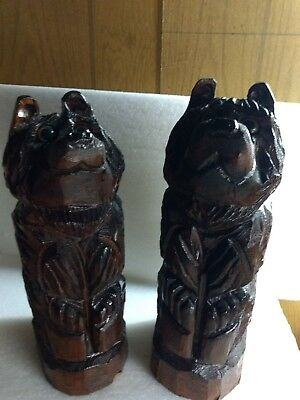 Vintage Hand Carved Solid Wood Couple Bear