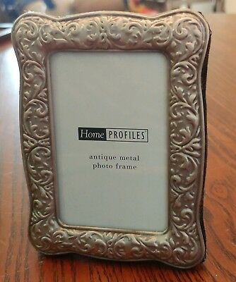 HOME PROFILES, Antique Metal Look Photo Frame,  Holds a 2X3