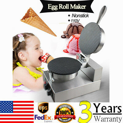 Commercial Electric Stainless Steel Nonstick Ice Cream Egg Cone Maker Machine US