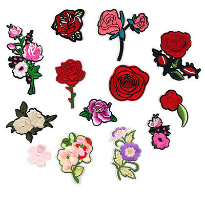 2PCS Red Rose Flower Embroidery Applique Cloth DIY Sewing Iron on Patch Badge