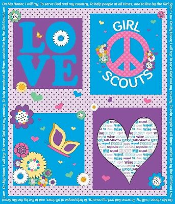 NEW Riley Blake GIRL SCOUT™ PANEL C6776-BLUE (by the Yard ) ~ FREE SHIPPING