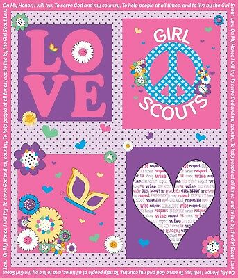 NEW Riley Blake GIRL SCOUT™ PANEL C6776-PINK (by the Yard ) ~ FREE SHIPPING