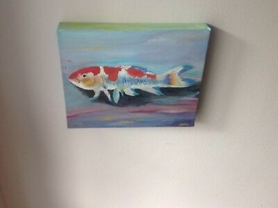 koi fish - Chinese wealth art 09 . Oil painting on a canvas 25 by 19 cm