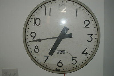 """vintage antique large 24"""" TR services industrial factory wall clock"""