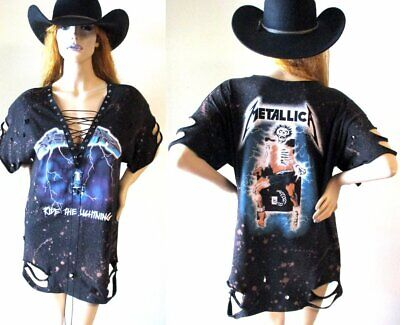 feb8d12654b3 METALLICA OMBRE BLEACHED lace up t shirt dress or tunic S-XL ...