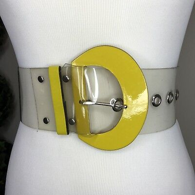 "Wide Clear Plastic Belt Yellow Buckle Vtg 80s New Wave Futuristic Vinyl 22""-26"""