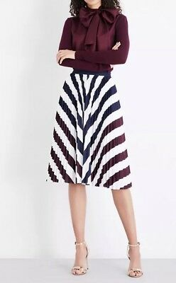 7a3ccad3f NWT Ted Baker London SZ 3 ALLIEE ROWING STRIPE PLEATED A LINE MIDI SKIRT  NAVY