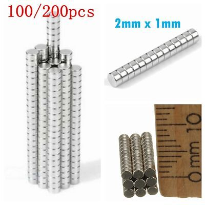 Lot 100Pcs N50 Super Strong Small Round Disc Rare Earth Neodymium Magnet 2 x 1mm