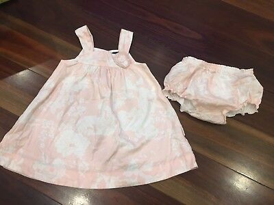 Pumpkin Patch Pink Floral Dress Girl With Bloomers Sz12-18mths.as New