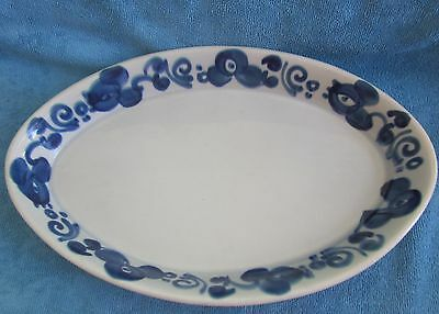 vintage LAPID Israel oven to table ware BAKING DISH Blue flowers  36 x 23cm