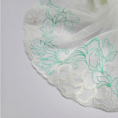 Floral Embroidered Lace Edge Trim Fabric Tulle Mesh Craft Ribbon Sewing Craft