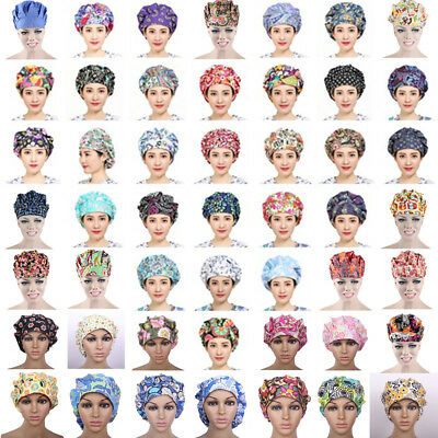 New Womens Colorful Printed Scrub Surgery Medical Surgical Doctor/Nurse Hat/Cap