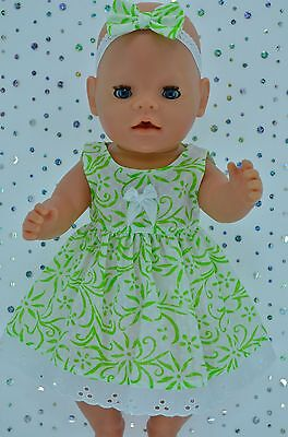"Play n Wear Doll Clothes To Fit 17"" Baby Born WHITE/LIME FLOWER DRESS~HEADBAND"