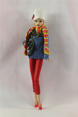 6in1 Fashion clothes/outfit Casual Top+pants+scarf+shoes+bag+hat For 11.5in.Doll