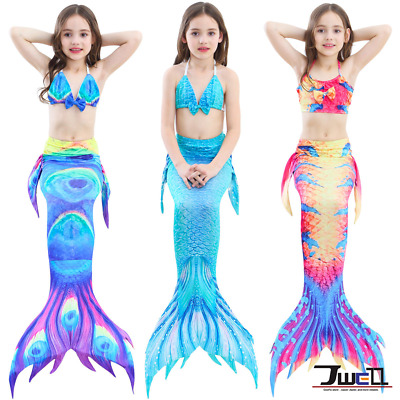 Kids Girls 3Pcs Mermaid Tail Swimming Bikini Sets Swimwear Mono Fin Swimmable