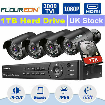 4CH Wireless CCTV DVR Outdoor 1080P WIFI IP Camera Home Security NVR System Set
