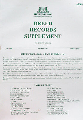Kennel Club Breed Records Supplement Pastoral Group Spring 2009