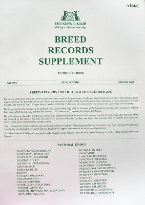 Kennel Club Breed Records Supplement Pastoral Group Winter 2007