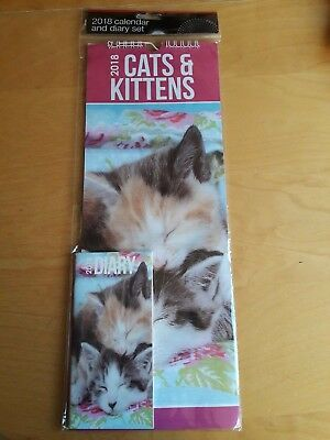NEW 2018 Cats and Kitten's Calendar and Diary set. Brand NEW
