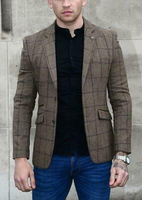 Mens Cavani Check New Tweed Herringbone Wool Tailored Mix Designer Blazer Jacket
