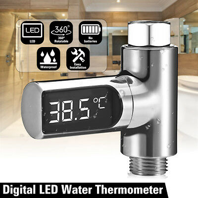 LED Digital Shower Temperature Display Water Thermometer Monitor Self-Generating