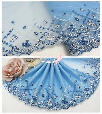 "8""*1Y Embroidered Tulle Lace Trim~Blue+White~Smiling Baby Rose~Wedding/Doll/DIY~"