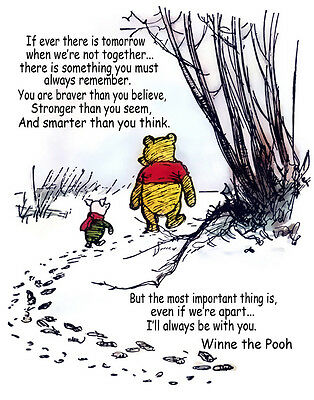 Winnie The Pooh And Piglet Hunt With Quote Print 11 x 14    #  #3241