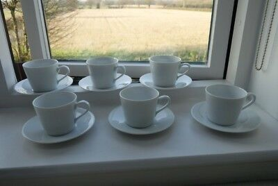 LSA INTERNATIONAL WHITE Porcelain Coffee Set Cups & Saucers x 6 ...
