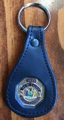 NYSP New York State Police Troopers Mini Badge Leather Key Ring Chain Keychain