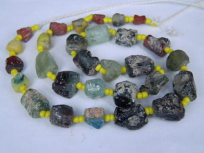 "Ancient Roman Glass Fragments Beads Strand C.200 Bcn """"k800"""""