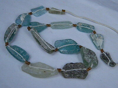 "Ancient Roman Glass Fragments Beads Strand C.200 Bc  """"k722"""""